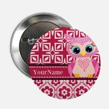 """Cute Pink Owl Personalized 2.25"""" Button (100 pack)"""