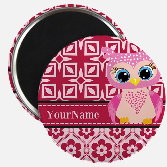 """Cute Pink Owl Personalized 2.25"""" Magnet (100 pack)"""