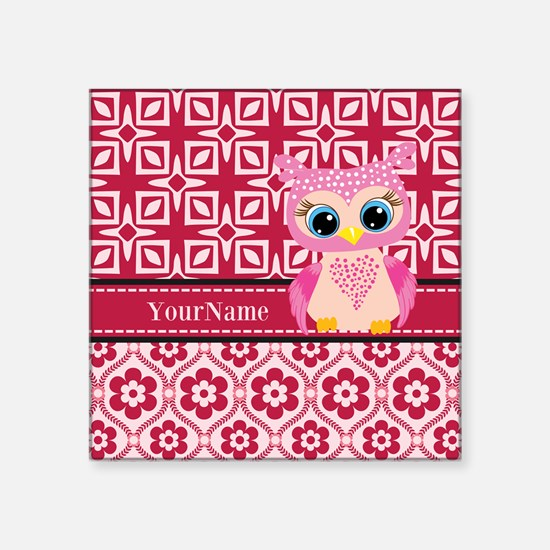 """Cute Pink Owl Personalized Square Sticker 3"""" x 3"""""""