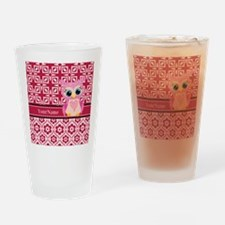 Cute Pink Owl Personalized Drinking Glass