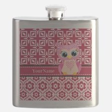 Cute Pink Owl Personalized Flask