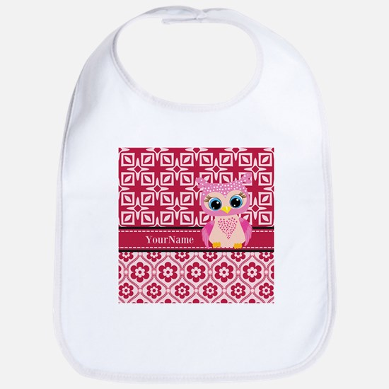 Cute Pink Owl Personalized Bib