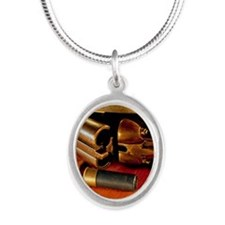 Shooting Clays Silver Oval Necklace