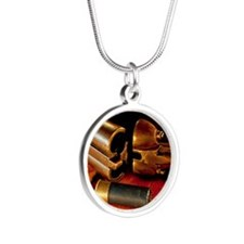 Shooting Clays Silver Round Necklace