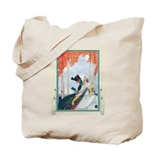 Funny Man and woman in park Tote Bag