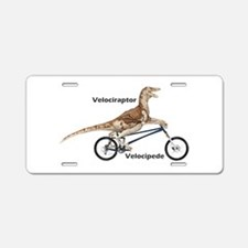 Velociraptor On Bike Aluminum License Plate