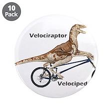 """Velociraptor on Bike 3.5"""" Button (10 pack)"""