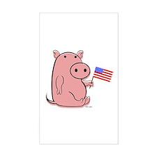PATRIOTIC PINK PIG Rectangle Decal