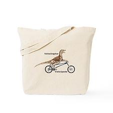 Velociraptor on Bike Tote Bag