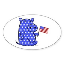 PATRIOTIC PIGGY Oval Decal