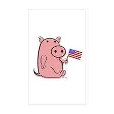 PATRIOTIC PINK PIG Rectangle Decal
