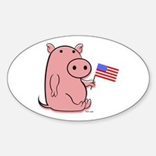 PATRIOTIC PINK PIG Oval Decal