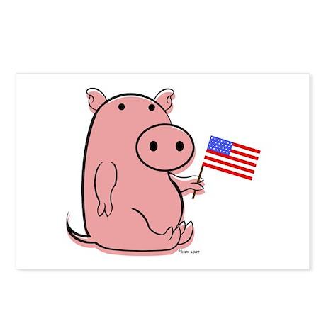 PATRIOTIC PINK PIG Postcards (Package of 8)