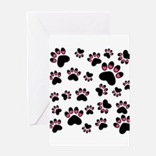 Cute Pink Black Heart Paws Greeting Cards