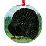 Fantail Black Pigeon Round Ornament