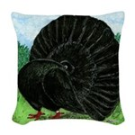 Fantail Black Pigeon Woven Throw Pillow