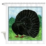 Fantail Black Pigeon Shower Curtain