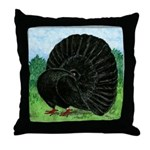 Fantail Black Pigeon Throw Pillow