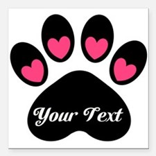 """Personalizable Paw Print Square Car Magnet 3"""" x 3"""""""