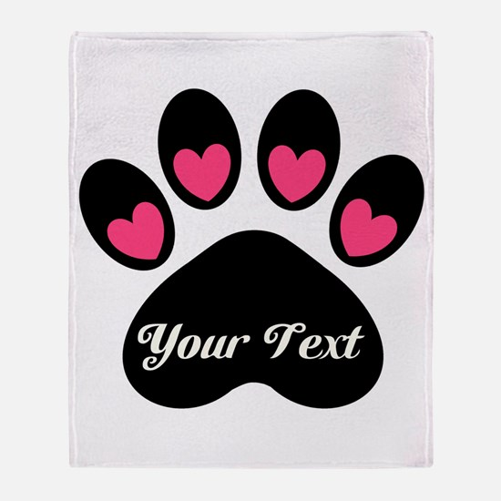 Personalizable Paw Print Throw Blanket