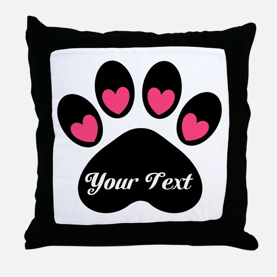 Personalizable Paw Print Throw Pillow