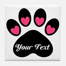 Personalizable Paw Print Tile Coaster