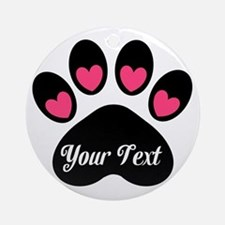 Personalizable Paw Print Pink Ornament (Round)