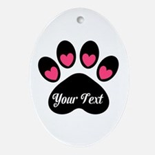Personalizable Paw Print Pink Ornament (Oval)