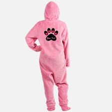 Personalizable Paw Print Pink Footed Pajamas