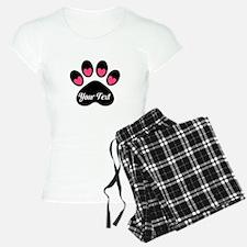 Personalizable Paw Print Pink Pajamas