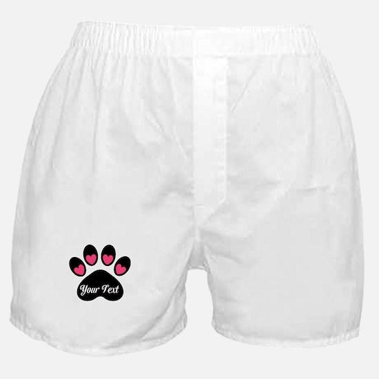 Personalizable Paw Print Pink Boxer Shorts