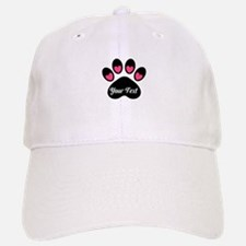 Personalizable Paw Print Pink Baseball Baseball Baseball Cap