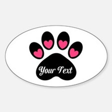 Personalizable Paw Print Pink Decal