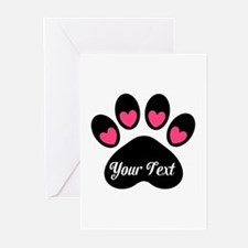 Personalizable Paw Print Pink Greeting Cards