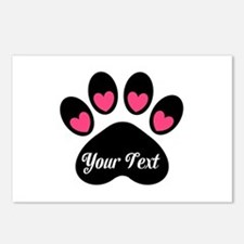 Personalizable Paw Print Pink Postcards (Package o