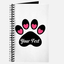 Personalizable Paw Print Pink Journal