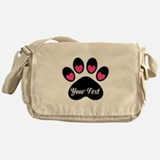 Personalizable Paw Print Pink Messenger Bag