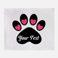 Personalizable Paw Print Pink Throw Blanket
