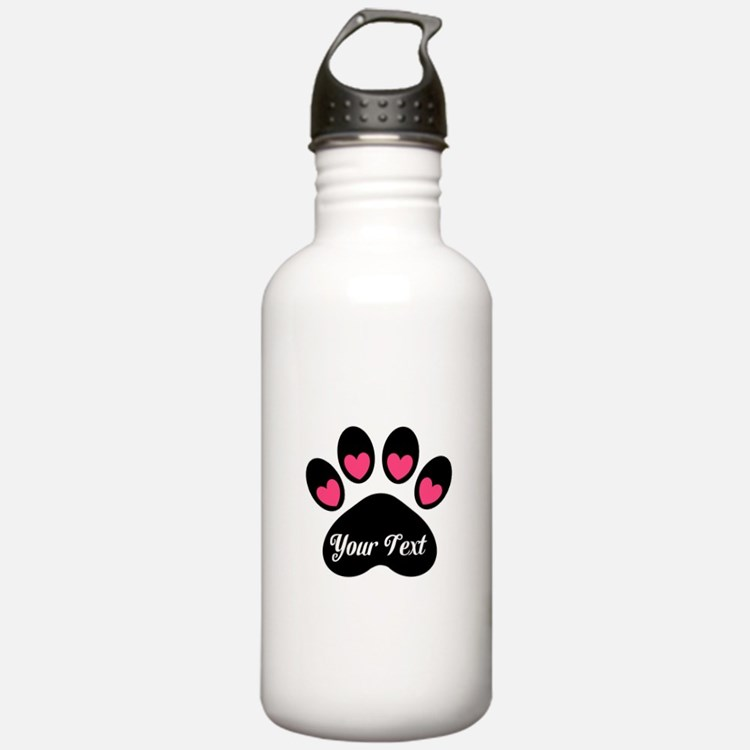 Personalizable Paw Print Pink Water Bottle