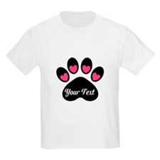Personalizable Paw Print Pink T-Shirt