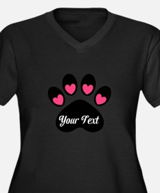 Personalizable Paw Print Pink Plus Size T-Shirt