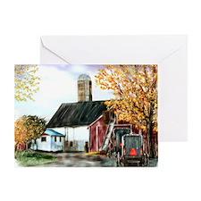 Amish Farm and Buggies Greeting Card