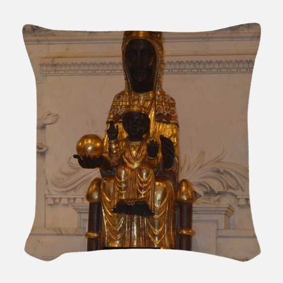 Lady of Montserrat Woven Throw Pillow