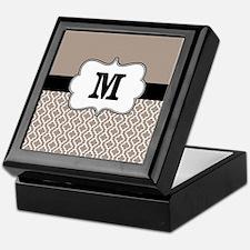 Beige Black Quatrefoil Monogram Keepsake Box