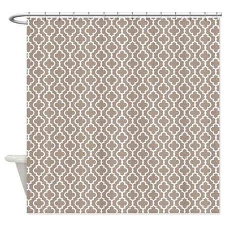 Beige Quatrefoil Shower Curtain By