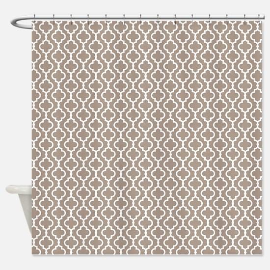 Beige Quatrefoil Shower Curtain