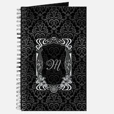 Black Grey Damasks Frame Journal