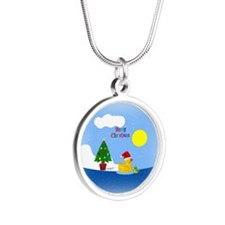 Cute Rubber Silver Round Necklace