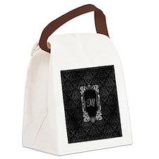 Black Grey Damasks Frame Canvas Lunch Bag