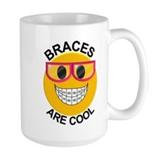Braces Are Cool Smiley / Pink Glasses Large Mugs